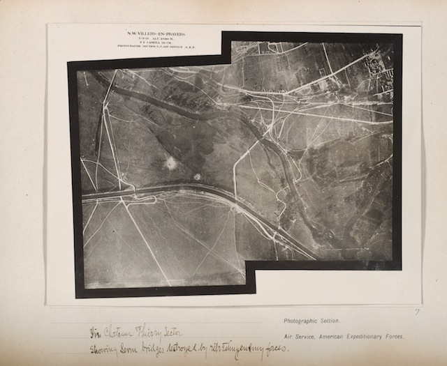 In Chateau Thierry Sector showing service bridges destroyed by retreating enemy forces, September 7, 1918 Gelatin silver print, from loose-leaf album of aerial photographs from the Photographic Section, Air Service, American Expeditionary Forces, World War I . The Art Institute of Chicago, gift of William Kistler. © 2014 The Estate of Edward Steichen/Artists Rights Society (ARS), New York.