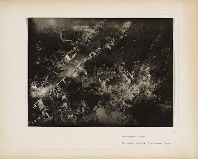 Untitled (Vaux), 1918/19. Gelatin silver print, from loose-leaf album of aerial photographs from the Photographic Section, Air Service, American Expeditionary Forces, World War I. The Art Institute of Chicago, gift of William Kistler. © 2014 The Estate of Edward Steichen/Artists Rights Society (ARS), New York.