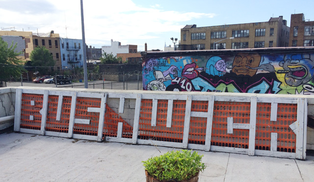 Skewville's Bushwick sign on a rooftop on Flushing Avenue. (all photos by the author for Hyperallergic)