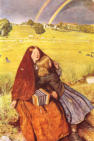 "John Everett Millais, ""The Blind Girl"" (1856), oil on canvas (via Birmingham Museum and Art Gallery)"