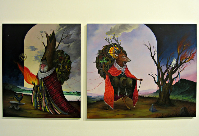 """El Gato Chimney, """"Hermit of the Stars"""" (2014), acrylic on canvas; """"The Catcher"""" (2014), acrylic on canvas"""