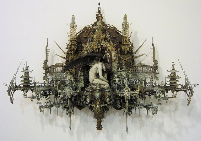 "Kris Kuksi, ""Seraphim at Rest"" (2013), mixed media sculpture"