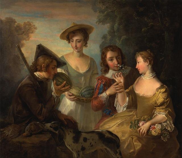 "Philip Mercier, ""The Sense of Smell"" (1744-47), oil on canvas (via Yale Center for British Art)"