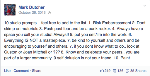 Facebook post from June 11, 2013 (via Facebook/MarkDutcher)