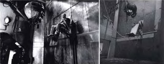 "Left: still from '12 Monkeys'; right: Lebbeus Woods's ""Neomechanical Tower"" (via the complaint)"