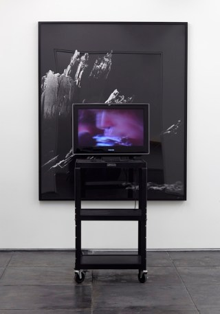 """Scott Benzel, """"Magnified / Erased"""" (2014), electron microscope photograph of a flake of cocaine from the book 'Magnifications,' video of rotoscopic erasure of a flake of cocaine from Neil Young's nostril from the film 'The Last Waltz,' flatscreen, media cart (click to enlarge)"""