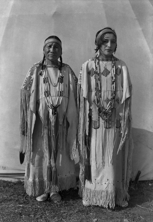 Caption: Left to right: Sindy Libby Keahbone (Kiowa) and Hannah Keahbone (Kiowa). Oklahoma City, Oklahoma, ca. 1930. 57PC2