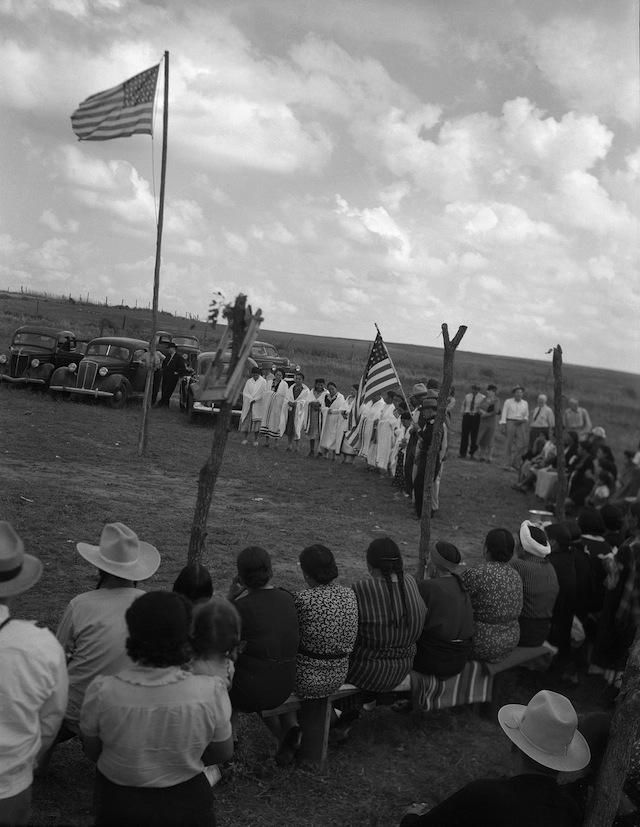Caption: Powwow at Lone Bear's dance ground. Carnegie, Oklahoma, ca. 1945. 45POW55