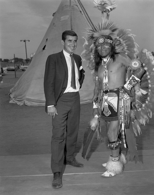 """Caption: Danny Williams, left, and George """"Woogie"""" Watchtaker (Comanche) at the Anadarko Indian Exposition. Anadarko, Oklahoma, ca. 1959. 45EXP17"""