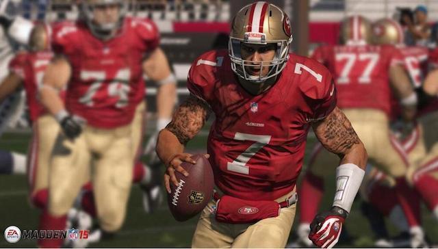Screenshot of Madden NFL 15, showing Colin Kaepernick's tattoos (courtesy EA Sports)