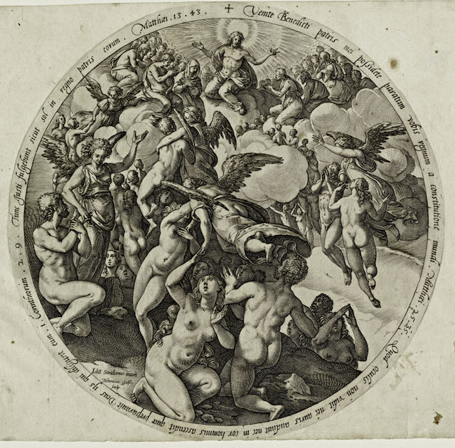 Hendrick Goltzius (The Netherlands, 1558–1617), The Descent to Hell of the Damned, c. 1577. Engraving. Lent by Kirk Edward Long.