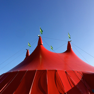 MAD4 took place in a this red circus tent on Refshaleøen, Copenhagen