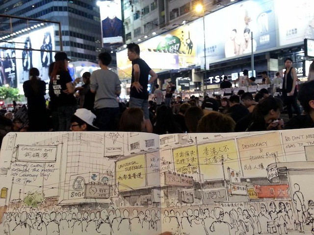 A drawing of Causeway Bay by Alvin Wong (Image via Facebook)