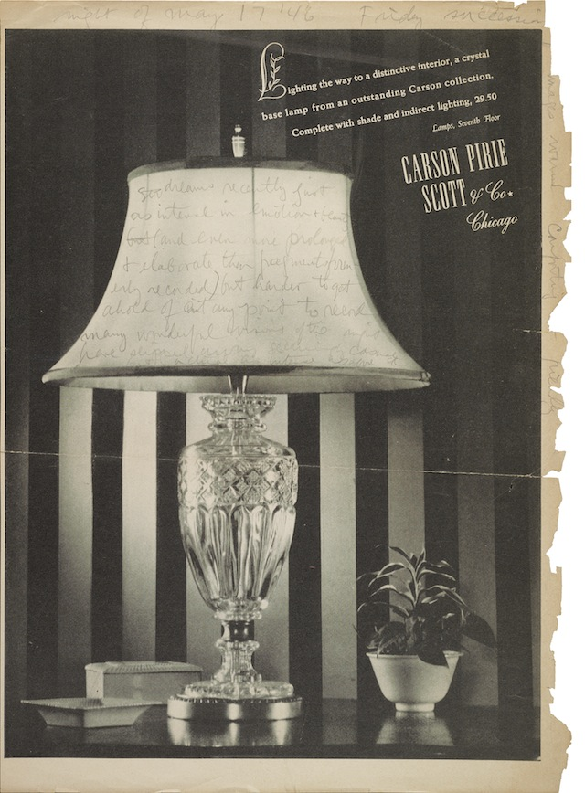""""""" Cornell records impressions of his dreams from the night of May 17, 1946, written in pencil on a page torn from a magazine. The page features an advertisement for a lamp collection sold by Carson Pirie Scott & Co.  On verso is another ad, for Kellogg stationery."""" (Image courtesy of the Archives of American Art, Smithsonian Institution)"""