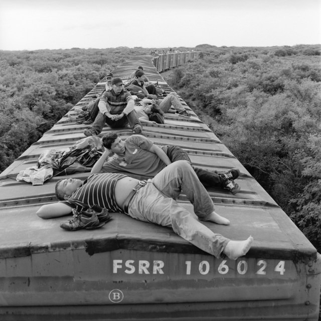 Central American migrants on the first leg of their journey on La Bestia. The train starts in Arriaga in Chiapas, Mexico about 160 miles from the Guatemalan border.