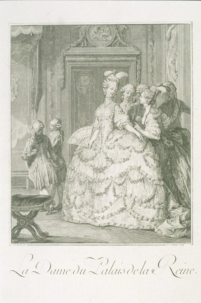 """Jean-Michel Moreau le Jeune's 1789 engraving """"La Dame du Palais de la Reine"""" depicts aristocratic life in Marie Antoinette's hey-dey, when beauty was an important quality for a leading lady to possess."""