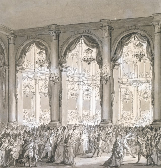"""""""The Royal Banquet"""" (1782), a pen and ink drawing by the French artist Jean-Michel le Jeune Moreau. (Photo by Petegorsky/Gipe)"""