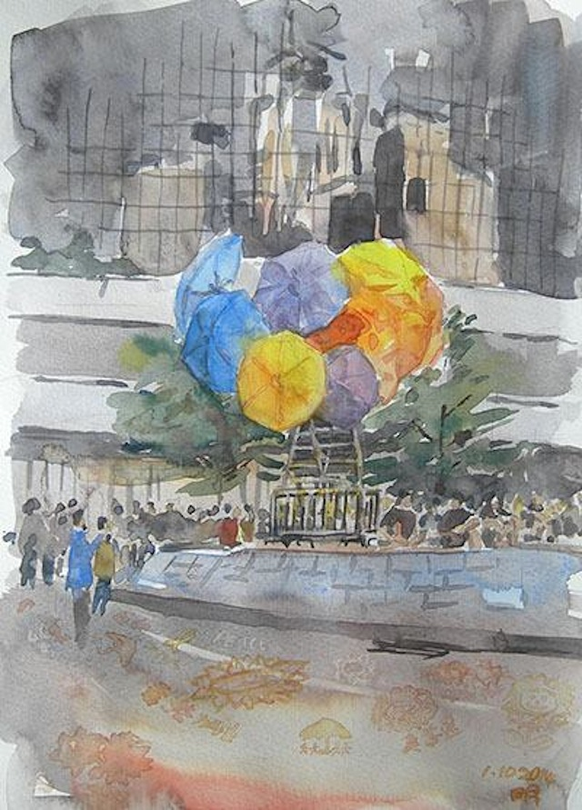 A drawing by Ming Lee of an umbrella art installation (Image via Facebook)