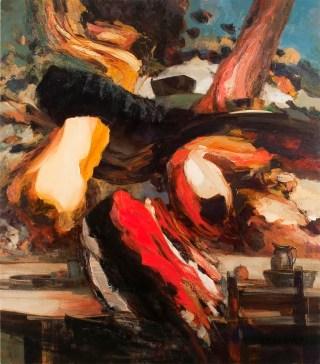 "Dana Saulnier, ""Picnic"" (2013), oil on canvas, 72.25"" x 63.25"" (all artwork images courtesy the artist)"