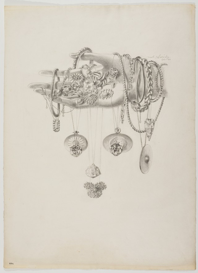 """Xanti , """"Jewelry Head"""" (1941–44), Head Drawings, graphite on paper, 30 1/2 x 22 1/2 inches (77.5 X 57.2 cm), Norman Waitt Jr. Collection"""