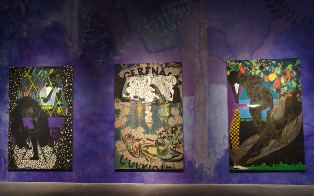 """Installation view of 'Chris Ofili: Night and Day' with """"Lime Bar"""" (2014, at left), """"Cocktail Serenader"""" (2014, at center), and """"Frogs in the Shade"""" (2014, at right)"""