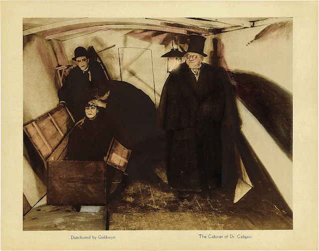 """A lobby card for """"The Cabinet of Dr Caligari"""" (1920) (via Wikipedia.org)"""