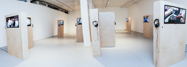 Installation view, 'Labor in a Single Shot' (photo by Melissa Blackall Photography at Mills Gallery, Boston Center for the Arts, Labor in a Single Shot, September 19–November 30, 2014)