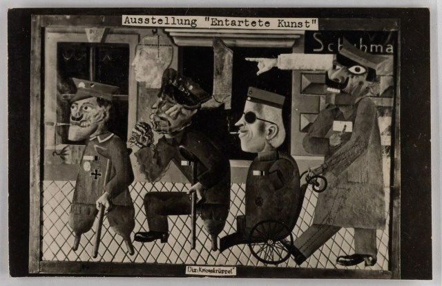 "'Entarte Kunst' Berlin exhibition postcard, showing a painting entitled ""Kriegskruerrel,"" which is uncredited according to Swann, but seems to say Dix, presumably for Otto. (courtesy Swann Auction Galleries)"