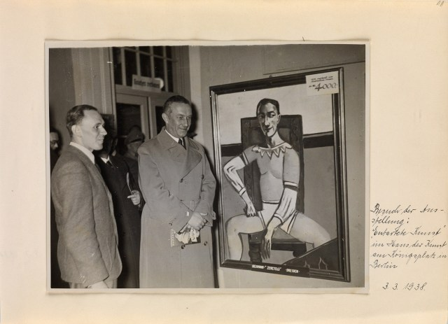 Photograph of Julius Lippert, the state commissioner of Berlin, at the 'Entarte Kunst' show's opening on March 3, 1938, ferrotyped silver print, 5 1/4x7 1/4 inc (13.3x18.4 cm) (courtesy Swann Auction Galleries)