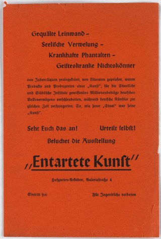 Original broadside promoting the Berlin 'Entarte Kunst' exhibition (courtesy Swann Auction Galleries) (click to enlarge)