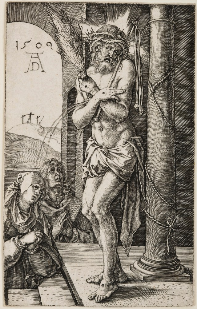 Albrecht Dürer The Man of Sorrows Standing by the Column, from The Engraved Passion, 1509 Engraving on paper Jansma Collection, Grand Rapids Art Museum, 2007.16a