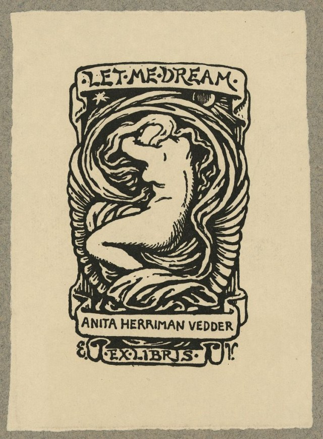 Bookplate of Anita Herriman Vedder, Rome, Italy, designed by Elihu Vedder, woodcut (via Library of Congress, Prints and Photographs Division)