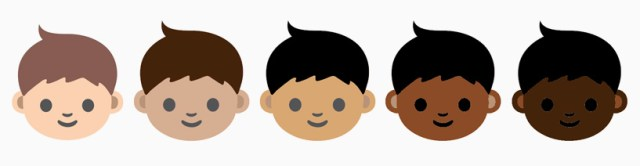 The proposed range of emoji skin tones (all images courtesy the Unicode Consortium)