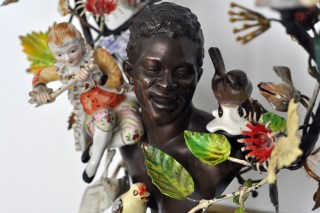 """Detail of Nick Cave's """"Oh Me, Oh My' (2014) at Jack Shainman's The School (photo by Hrag Vartanian for Hyperallergic)"""
