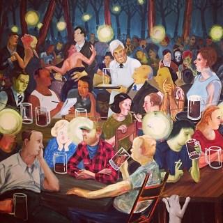 "Nicole Eisenman, ""Brooklyn Biergarten II"" (2008), oil on canvas (photo by the author for Hyperallergic)"