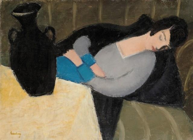 "Róbert Berény, ""Sleeping Lady with Black Vase"" (1927–28), oil on canvas, 64x87 cm (image via viragjuditgaleria.hu)"