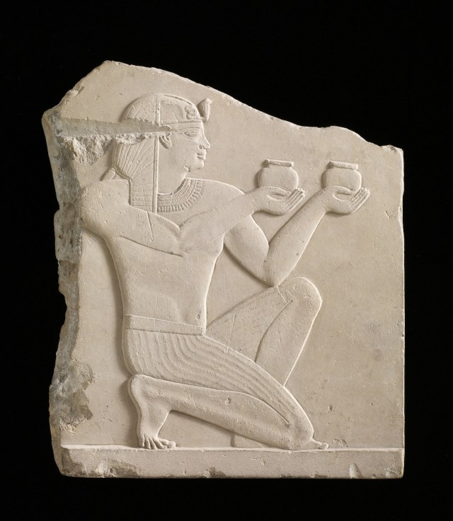 """""""Plaque depicting a king offering wine"""" (305–30 BCE), Egypt, possibly Ptolemaic dynasty, soft limestone, Gift of Charles Lang Freer, Freer Gallery of Art"""