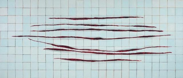 "Adriana Varejão, ""Wall with Incisions a la Fontana"" (2000) (Image courtesy of ICA Boston)"