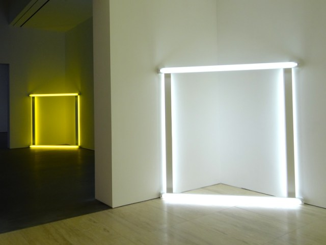 Untitled Dan Flavin light sculptures from 1966–71 (photo by the author for Hyperallergic)