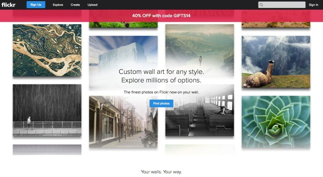 """Flickr's """"curated collection"""" wall art site (screenshot by the author)"""