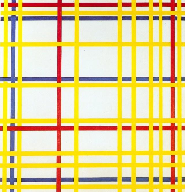 """Piet Mondrian, """"New York City 1"""" (1942), oil on canvas (Musée National d'Art Moderne, Centre Georges Pompidou, Paris, France, via WikiArt)"""