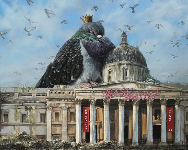 """Russell Marks, """"Curse of the Pigeon,"""" oil on canvas, part of an exhibition last fall of work by National Gallery staff in protest of privatization (image via Facebook)"""