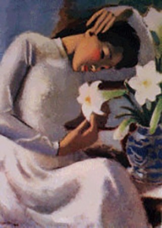 "To Ngoc Van, ""A Girl by Lilies"", 1943, courtesy  Asiaart.net"