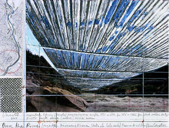 "Christo, Over The River, Project For The Arkansas River, State of Colorado Collage 2007 21.5 x 28 cm (8 1/2"" x 11"") Pencil, enamel paint, wax crayon, photograph by Wolfgang Volz, fabric sample and topographic map. Photo: Wolfgang Volz, © Christo 2007"