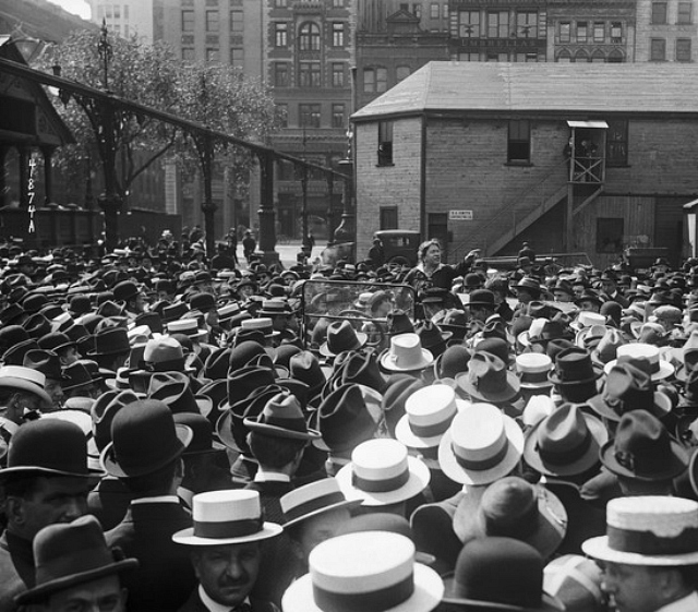 Emma Goldman at a rally in New York's Union Square (May 21, 1919) (via Corbis Images for Education)