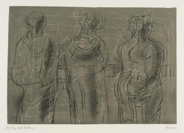 """Henry Moore OM, CH, """"Three Cloaked Figures"""" (1974)"""