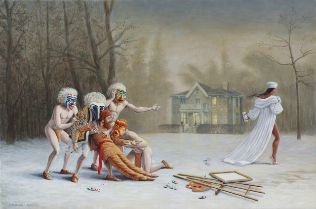 Kent Monkman, Duel After the Masquerade, 2007, Acrylic on canvas, 20 x 30 in. Collection of Jennifer Dattels.