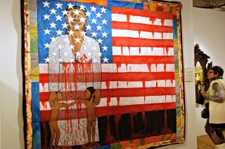 """Faith Ringgold, """"The Flag is Bleeding #2 (The American Collection #6)"""" (1997), acrylic on canvas with painted & pieced border, 79x76 inches, Forum Gallery"""