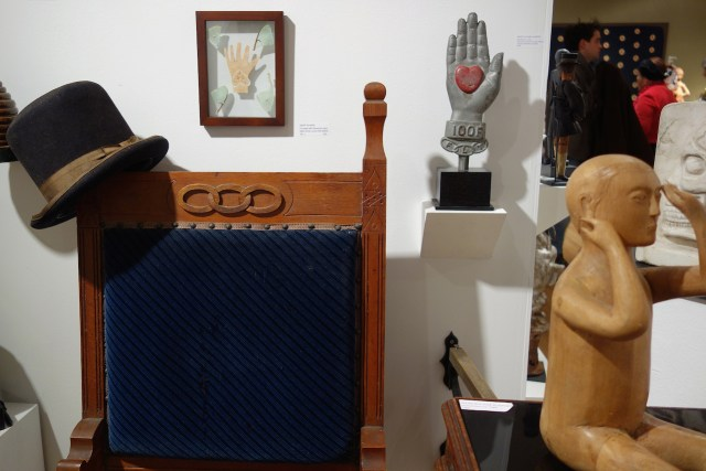 An Order of Odd Fellows chair with other curios, American Primitive Gallery