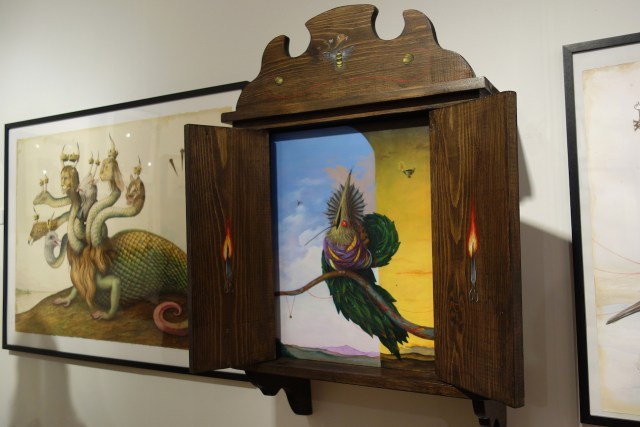 """El Gato Chimney, """"The Ancestor"""" (2014), acrylic on canvas with painted wooden cabinet, Stephen Romano Gallery"""